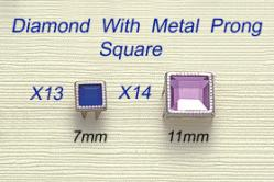 Diamond With Metal Prong-Square