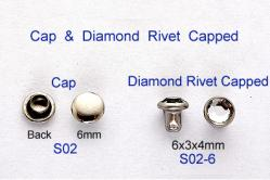 Cap & Diamond Rivet Capped