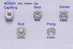 Prong Snap Button-Zinc Hollow Cap